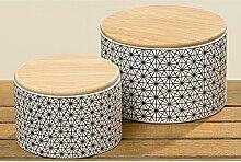 Vorratsdose aus Keramik mit Holzdeckel 13cm
