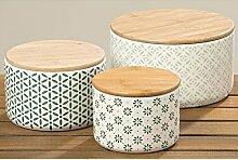 Vorratsdose aus Keramik mit Holzdeckel 17cm grün (1 Stk.)