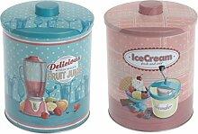 Vorratsdose Blechdose Metall-Dose-Box Candy Retro Rund Rosa - Ice Cream