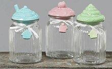 Vorratsdose - Cupcake - Aufbewahrungs Glas Dose mit Porzellan Deckel (blau)
