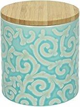 Vorratsdose DAMASCO, 600 ml., 11 cm hoch, Keramik, türkis-weiß, wundervoll gearbeitete Ornamente mit erhabenener Struktur von TOGNANA