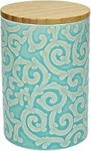 Vorratsdose DAMASCO, 950 ml., 15 cm hoch, Keramik, türkis-weiß, wundervoll gearbeitete Ornamente mit erhabenener Struktur von TOGNANA