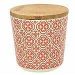 Vorratsdose Ecofiber, 470 ml., 10,5 cm hoch, aus Fibre Bamboo und Deckel aus Bambusholz, creme-rot in meditarranem Design von TOGNANA