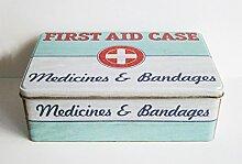 VORRATSDOSE Erste Hilfe Box 20x13cm First Aid Dose Retro Blechdose Metalldose 61 (Türkis)