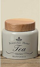 Vorratsdose für Tee Keramik grau 11cm