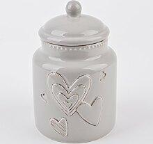 Vorratsdose Herzen rund Home Design Porzellan Küche Dekoration (20x14x14cm, Schlamm)