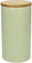 Vorratsdose / Kaffeedose 500 gr. AMIRA, 1270 ml., 19 cm hoch, Keramik, limette-weiß, wundervoll gearbeitete Struktur, mit tollem Dekor von TOGNANA