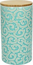 Vorratsdose / Kaffeedose 500 gr. DAMASCO, 1270 ml., 19 cm hoch, Keramik, türkis-weiß, wundervoll gearbeitete Ornamente mit erhabenener Struktur von TOGNANA