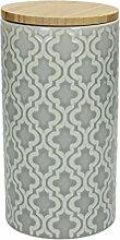 Vorratsdose / Kaffeedose 500 gr. KONIA, 1270 ml., 19 cm hoch, Keramik, grau-weiß, wundervoll gearbeitete Struktur, mit tollem Dekor von TOGNANA