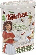 Vorratsdose Keksdose Gebäckdose Vintage Design oval, Kitchen Karo grün