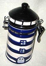 Vorratsdose-Keramik Motiv Leuchtturm handbemalt-blau/weiß- 20 cm