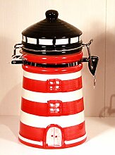 Vorratsdose-Keramik Motiv Leuchtturm handbemalt-rot/weiß- 19 cm