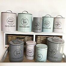 Vorratsdose KITCHEN 3 Farben & Grössen Blechdose Kaffedose Teedose Landhaus Nostalgie Shabby Cottage (klein, Coffe, mint)