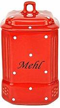 Vorratsdose Mehl im rot-weiß gepunkteten Muster - Lausitzkeramik K244