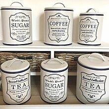 Vorratsdose NOSTALGIE beige-blau Blechdose Zucker Kaffedose Teedose Landhaus (groß, Tea)