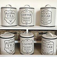 Vorratsdose NOSTALGIE beige-schwarz Blechdose Zucker Kaffedose Teedose Landhaus (groß, Tea)
