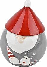 Vorratsdose Weihnachtsmann Design Porzellan 17x13x13cm grau rot Weihnachtsdeko Xmas