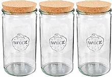 Vorratsglas 1,5 Liter 3er-Set Weckgläser mit