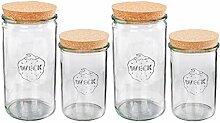 Vorratsglas 2x1,5 Liter 2x1 Liter, Weckgläser mit