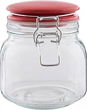 Vorratsglas, Bonboniere mit rotem Deckel 13x11cm H. 13cm Clayre & Eef (4,95 EUR / Stück)