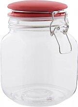 Vorratsglas, Bonboniere mit rotem Deckel 13x11cm H. 16cm Clayre & Eef (5,50 EUR / Stück)