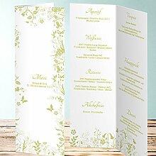 Vorschläge Menükarten Hochzeit, Sophias Garten 45 Karten, Vertikale Klappkarte 100x300, Braun