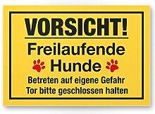 Vorsicht freilaufende Hunde (gelb) - Hunde Schild, Hinweisschild Gartentor / Gartenzaun - Türschild Haustüre, Warnschild Abschreckung und Einbruchschutz - Tor geschlossen halten
