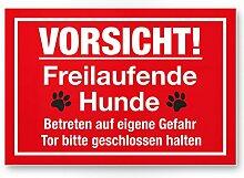 Vorsicht freilaufende Hunde (rot) - Hunde