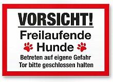 Vorsicht freilaufende Hunde (weiß-rot) - Hunde