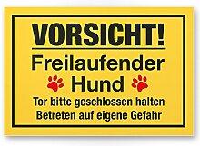 Vorsicht freilaufender Hund (gelb) - Hunde Schild, Hinweisschild Gartentor / Gartenzaun - Türschild Haustüre, Warnschild Abschreckung und Einbruchschutz - Achtung Hund