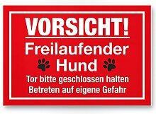 Vorsicht freilaufender Hund (rot) - Hunde