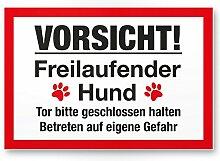 Vorsicht freilaufender Hund (weiß-rot) - Hunde