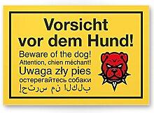 Vorsicht vor dem Hund mehrsprachig (gelb) - Hunde Schild, Hinweisschild Gartentor / Gartenzaun - Türschild Haustüre, Warnschild Abschreckung und Einbruchschutz - Achtung Hund
