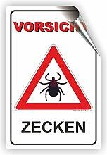 VORSICHT ZECKEN SCHILD / ZECKENGEFAHR / ZECKENGEBIET / T-005 (30x45cm Aufkleber)