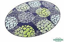 Vorwerk Bijou Fleur blau Kettelteppich Teppich 125x195 cm Ellipse