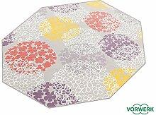 Vorwerk Bijou Fleur grau Kettelteppich Teppich 200x200 cm Achteck