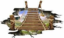 VOSAREA 3D Boden Aufkleber Hängebrücke