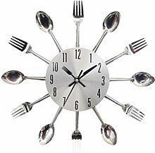 VOSAREA Gabel Löffel Uhr Küchengerät Wanduhr