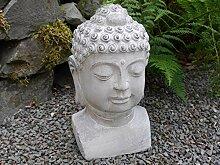 VOSS Buddha Kopf Garten Deko Figur grau Zement