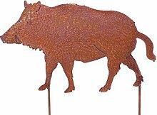 Vosteen Gartenstecker Wildschwein Metall Rost
