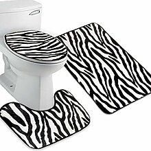 VROSE FLOSI 3pcs Zebra Flanell Deckel Toilette Bad