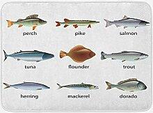 vrupi Fisch-Badematte mit Tintenfisch Thunfisch