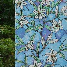 VSUDO Fensterfolie mit Orchideen-Muster, 89,9 x