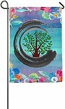 VVGETE Garten Flagge, Bonsai Baum Zen Haus Flagge