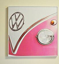 VW gerahmtes Wandbild Art, Pink Campervan
