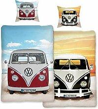 VW Volkswagen Bulli Bettwäsche Beach Rot /