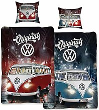 VW Volkswagen Bulli Bettwäsche Originals Rot /