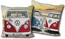 VW Volkswagen Kuschel-Kissen Bulli T1 rot blau 40