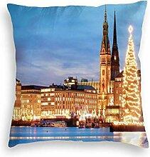 VwuuzLpOD Velvet Pillow Case,Hamburg Germany Old