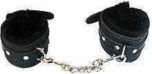 W-top Handschellen sex Plüsch Leder Sexspielzeug für Paare Erwachsene, Dame Cosplay Kostüm haarige Frauen Rollenspiel Requisiten (Schwarz)